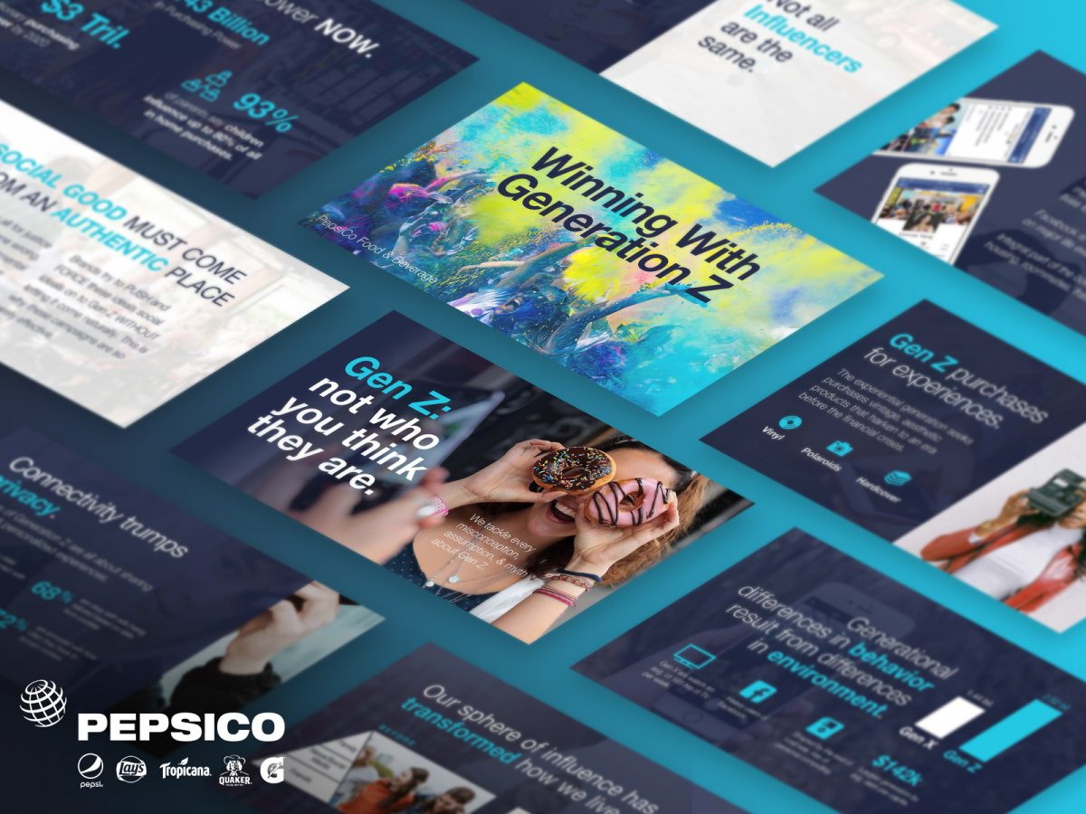 Consumer research slide deck design for PEPSICO about Gen Z.